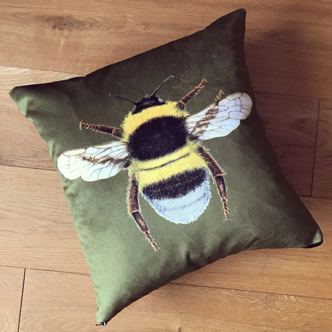 Olive green velvet bee cushion