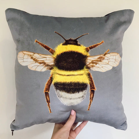 Grey Bee Cushion | Velvet Chenille