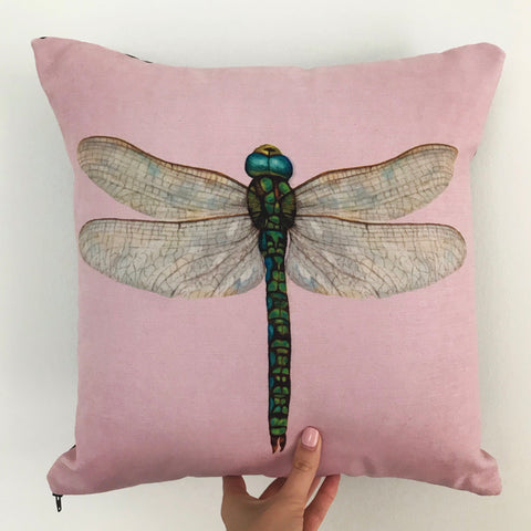 pink dragonfly cushion