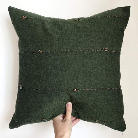 'Willow' Green Cotton Boho Cushion