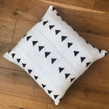 African Mudcloth Cushion | Black Triangles