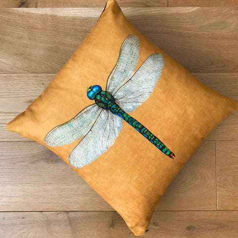 Yellow Velvety Dragonfly Cushion
