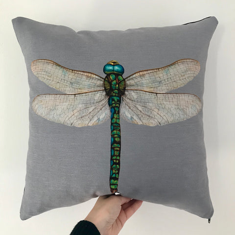 Grey Dragonfly Cushion | Shimmer Velvet