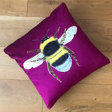 Magenta Bee Cushion | Velvet Chenille