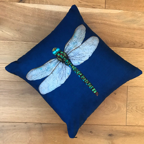 Handmade Navy Dragonfly Cushion