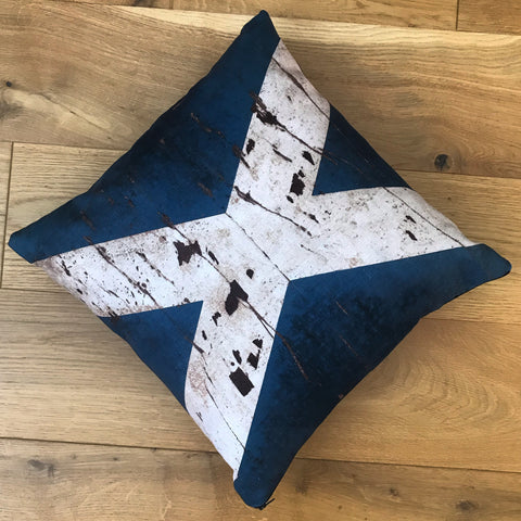 Velvety Scottish Flag Cushion