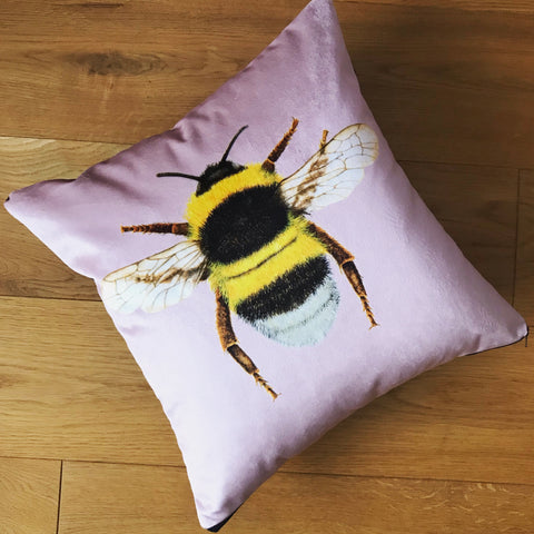 Blush pink bee cushion | Velvet Chenille