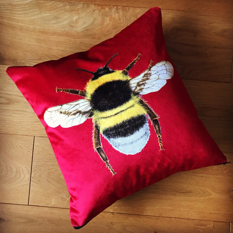Red velvet bee cushion