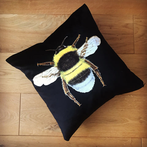 Black Bee Cushion | Chenille Velvet