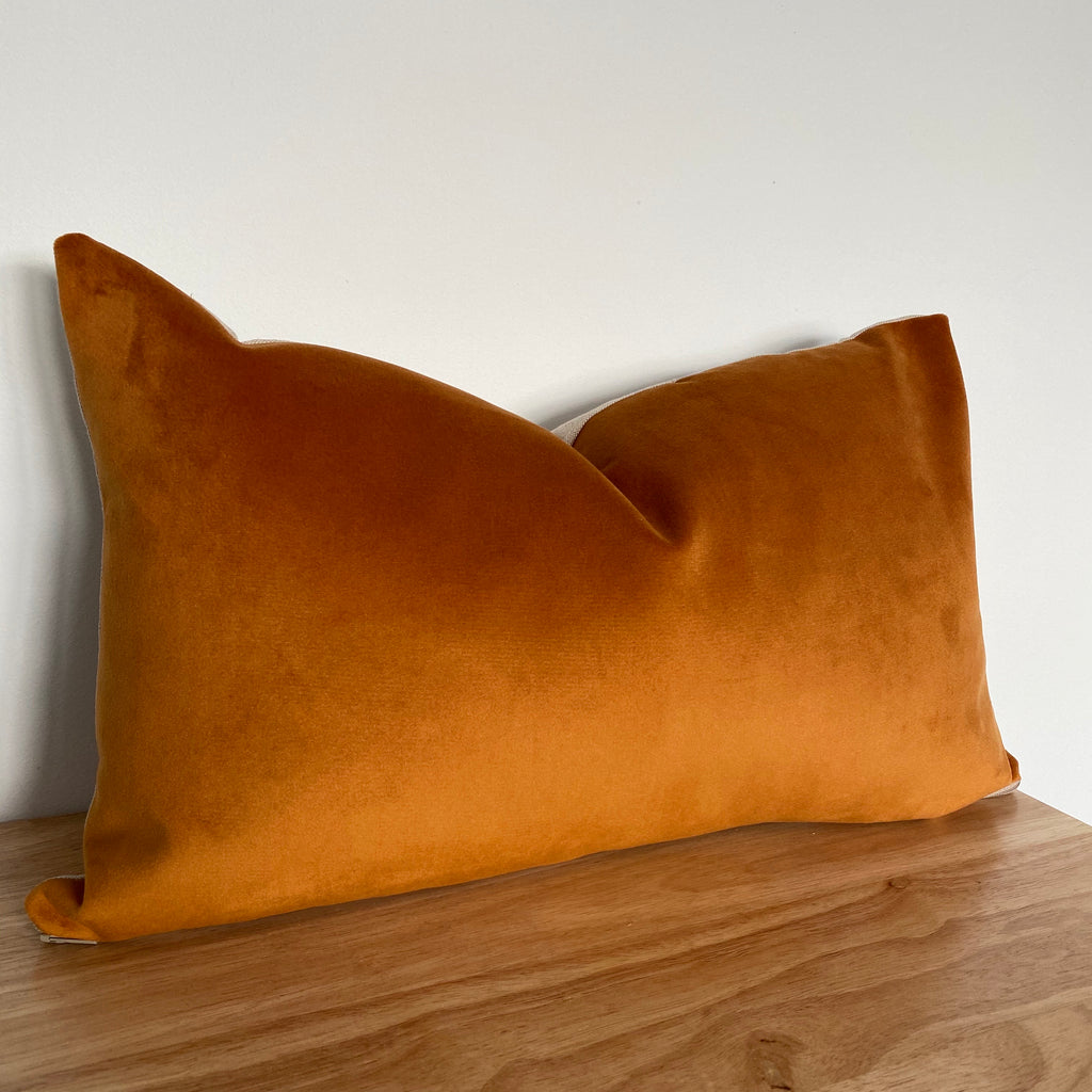 Orange rectangle velvet cushion