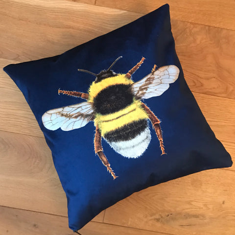 Velvet Chenille Bee Cushion | Navy Blue