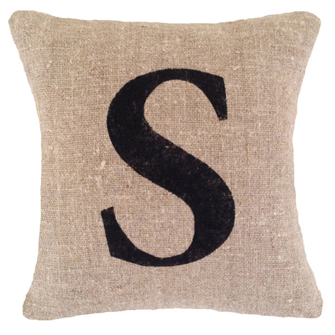 Rustic initial cushion