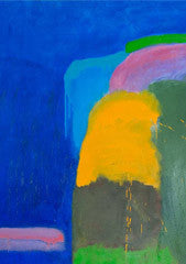 Untitled No 7. Brown, Green, Cadmium Yellow and Light Blue on Ultramarine. Sydney Exhibition, 2012.
