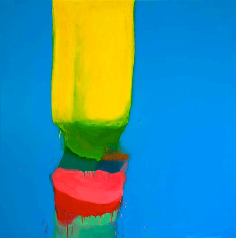 Untitled No 4. Canery Yellow, Lime Greens and Pink on Zinc Blue.