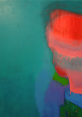 Untitled No 2. Pinks, Green on Cobalt Teal, Sydney Exhibition, 2012.
