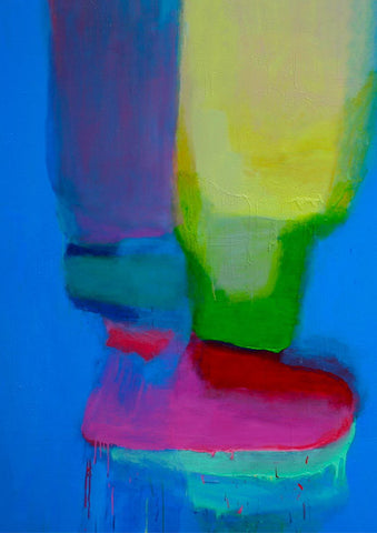Untitled No 1. Pinks, Green on Zinc Blue, Sydney Exhibition, 2012.