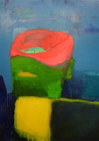 Untitled No 6. Cannery Yellow, Greens and Pink on Zinc Blue, Sydney Exhibition, 2012.