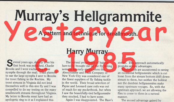Murray's Hellgrammite Article by Harry Murray December 1985 Flyfishing Magazine