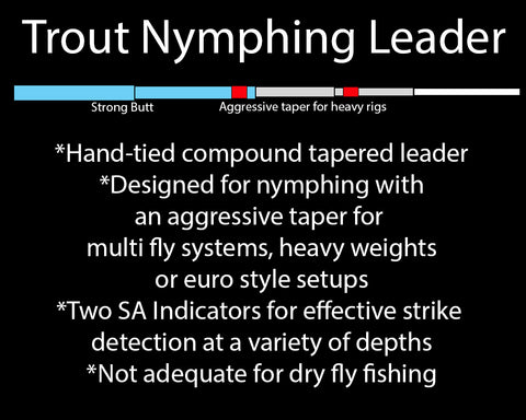 Trout nymphing leader, nymph fishing leader, fly fishing leader, euro nymphing leader