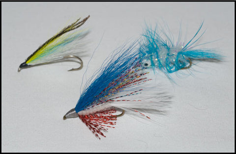 Silver Outcast Streamer, Murray's Heavy Shiner Streamer and Murray's Dying Shiner Minnow.