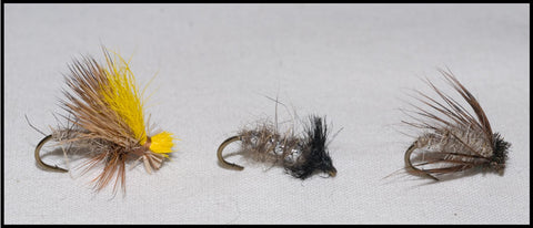 Mr. Rapidan Tan Delta Wing Caddis, Murray's Caddis Larva and Murray's Tan Magic Caddis Pupa
