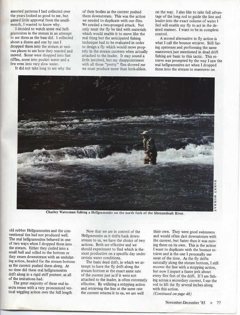 Murray's Hellgrammite article in Flyfish Magazine December 1985. Photograph of Charles F. Waterman smallmouth bass fishing on the North Fork of the Shenandoah near Edinburg, Virginia