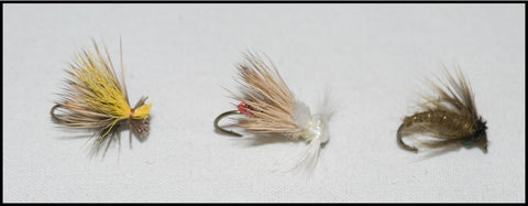Mr. Rapidan Olive Delta Wing Caddis Dry, Shenandoah Olive Caddis and Murray's Olive Magic Caddis Pupa