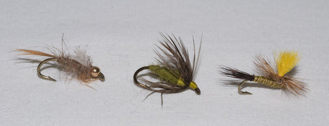 Mr. Rapidan Bead Head Nymph, Mr. Rapidan Olive Soft Hackle Nymph and Mr. Rapidan Parachute