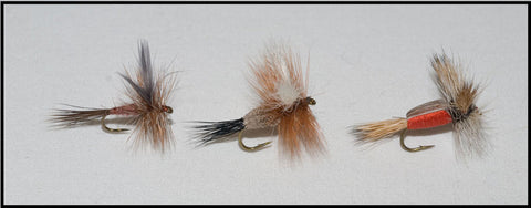 Murray's Brown Drake Fly, Irresistible Dry and Humpy Red Dry Fly.