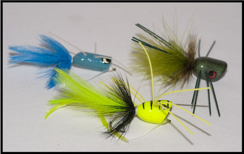 Shenandoah Blue Popper, Murray's Frog Chugger and Murray's Chartreuse Bass Popper