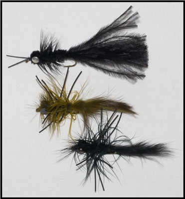 Murray's Heavy Black Hellgrammite, Murray's Olive Road Kill Nymph and Murray's Skunk Road Kill Nymph