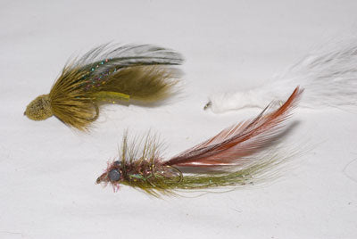 Murray's Sculpin Marauder, Shenk's White Streamer, Murray's Magnum Hog Sucker
