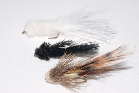 Shenk's White Streamer, Shenk's Black Sculpin and Spuddler Streamer.