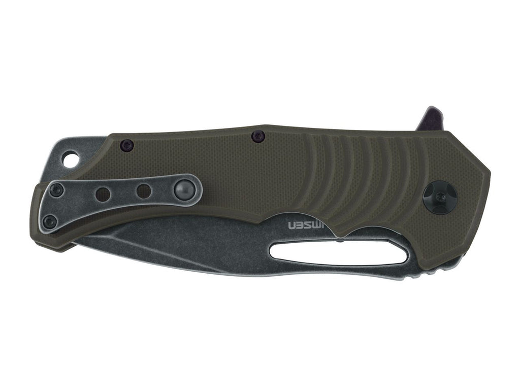 "Fox BlackFox Hugin 3.94"" 440C Stonewash PVD Green G10 Folding Knife by Mikkel Wilumsen"