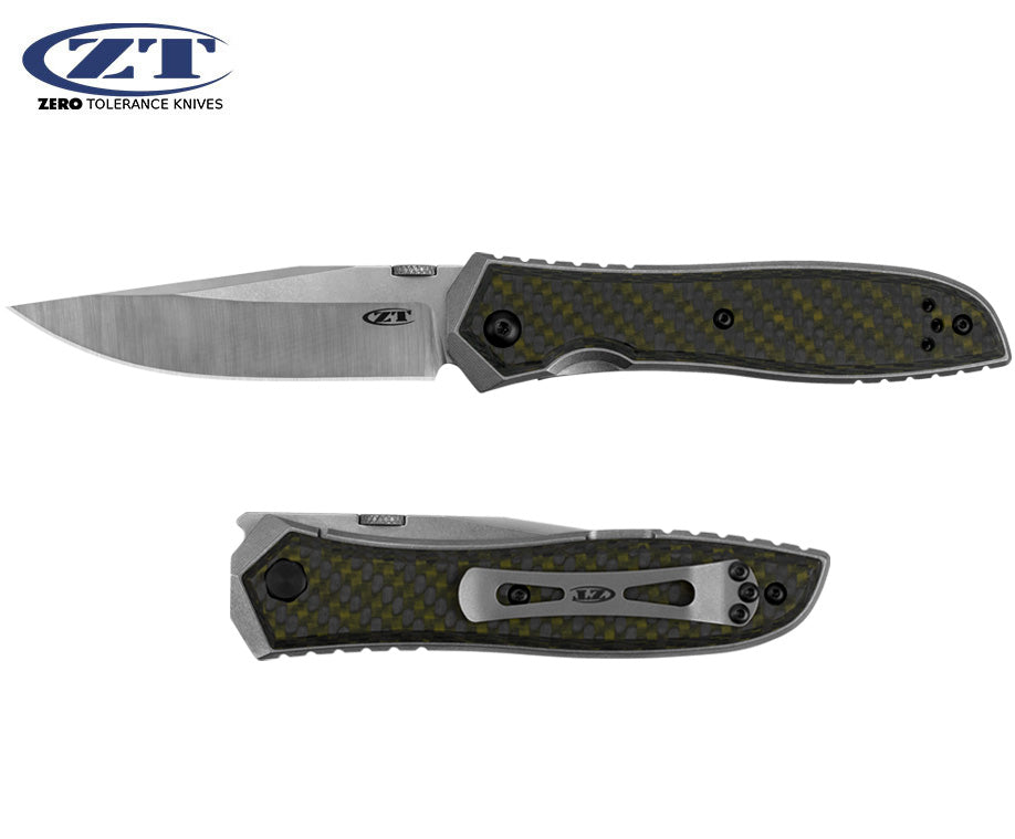"Zero Tolerance 0640 Emerson 3.75"" CPM 20CV Titanium Green Carbon Fiber Folding Knife"