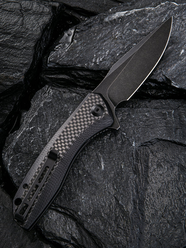 "Civivi Baklash 3.5"" 9Cr18MoV Black G10 Carbon Fiber Folding Knife C801I"