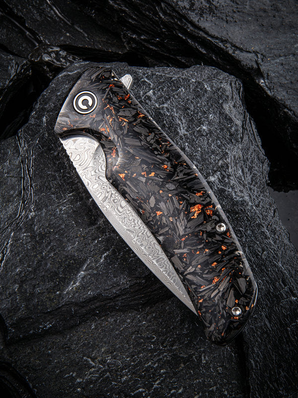 "Civivi Incite 3.7"" Damascus Carbon Fiber Copper Shred Folding Knife C908DS-2"