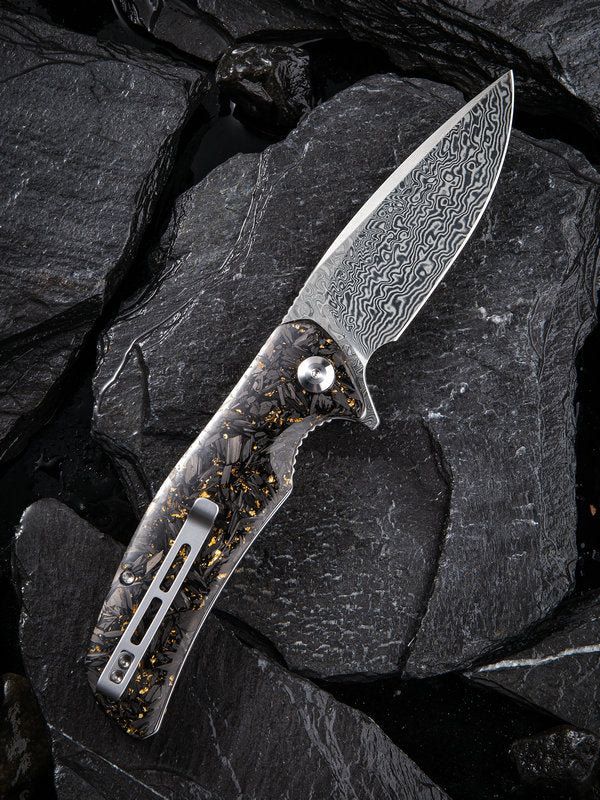 "Civivi Incite 3.7"" Damascus Carbon Fiber Gold Shred Folding Knife C908DS-1"