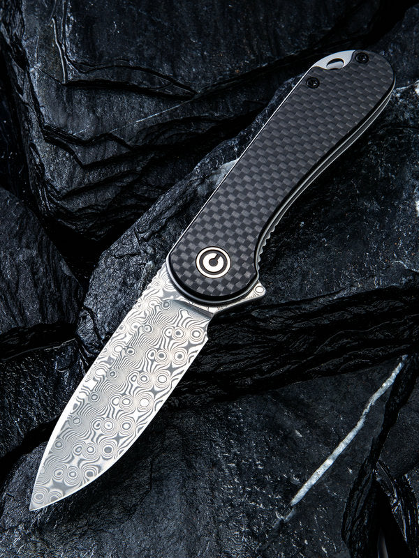 "Civivi (by WE Knife) Elementum 2.96"" Damascus Carbon Fiber Folding Knife C907DS"