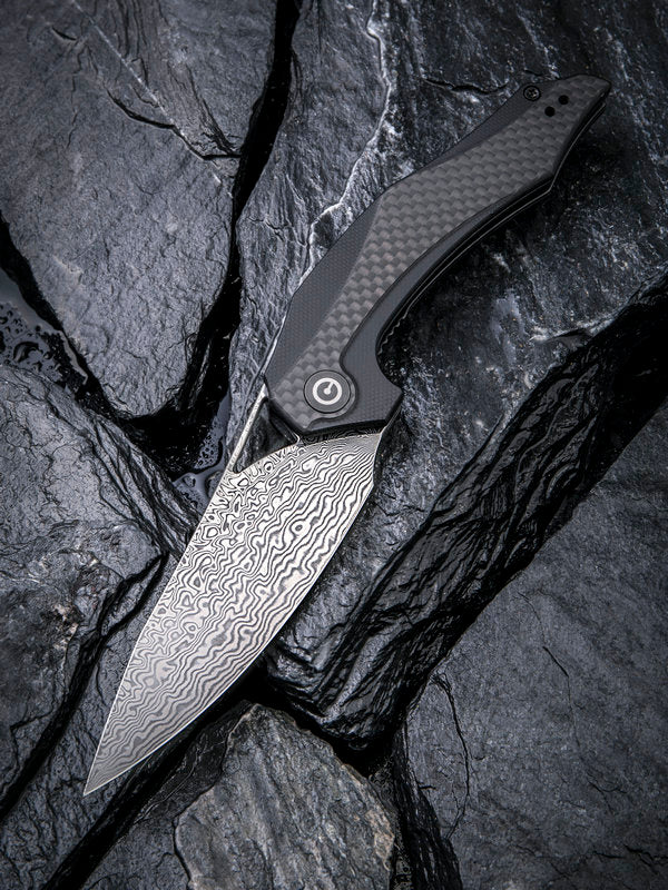 "Civivi (by WE Knife) Elijah Isham Plethiros 3.45"" Damascus G10 Carbon Fiber Folding Knife C904DS"