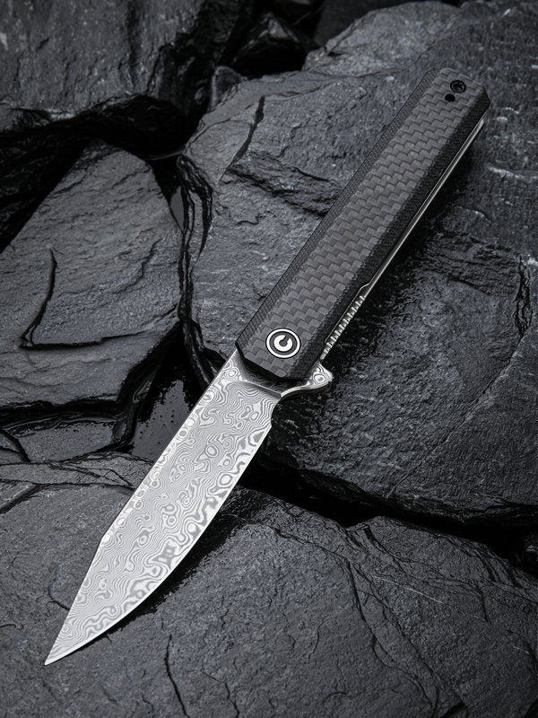 "Civivi (by WE Knife) Chronic 3.22"" Damascus Carbon Fiber G10 Folding Knife C917DS"