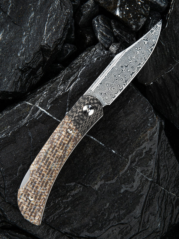 "Civivi Rustic Gent 2.97"" Damascus Carbon Fiber Brown Micarta Folding Knife with Leather Sheath C914DS-2"