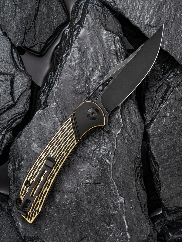 "Civivi Dogma 3.46"" D2 Black Stonewashed Brass Folding Knife C2005E"