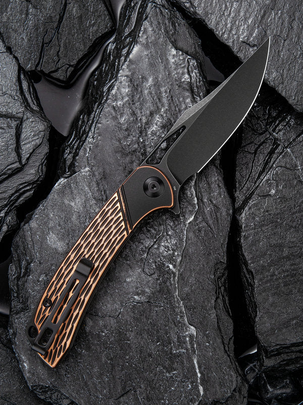 "Civivi Dogma 3.46"" D2 Black Stonewashed Copper Folding Knife C2005F"