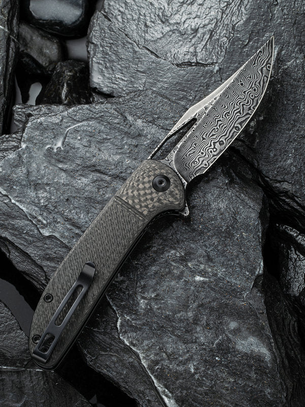 "Civivi Ortis 3.25"" Damascus Twill Carbon Fiber Folding Knife C2013DS-1"