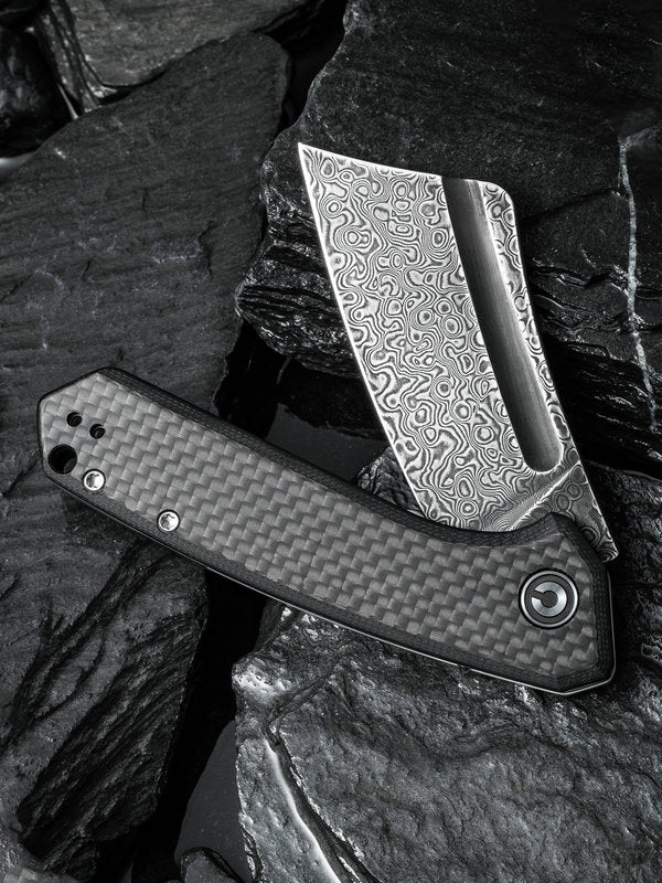 "Civivi Mini Bullmastiff 2.97"" Black Damascus Carbon Fiber G10 Folding Knife C2004DS-1"