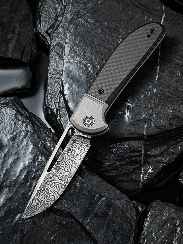 "Civivi Trailblazer 2.97"" Black Damascus Carbon Fiber G-10 Slip Joint Folding Knife C2018DS-1"