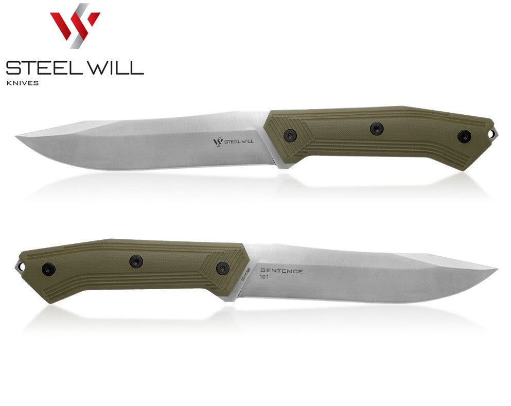 "Steel Will Sentence 101 6.1"" OD Green G10 Fixed Blade Knife with Kydex Sheath"