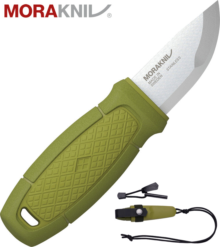 "Morakniv Eldris 2.2"" Sandvik 12C27 Neck Knife Kit with Fire Starter - Green 12633"