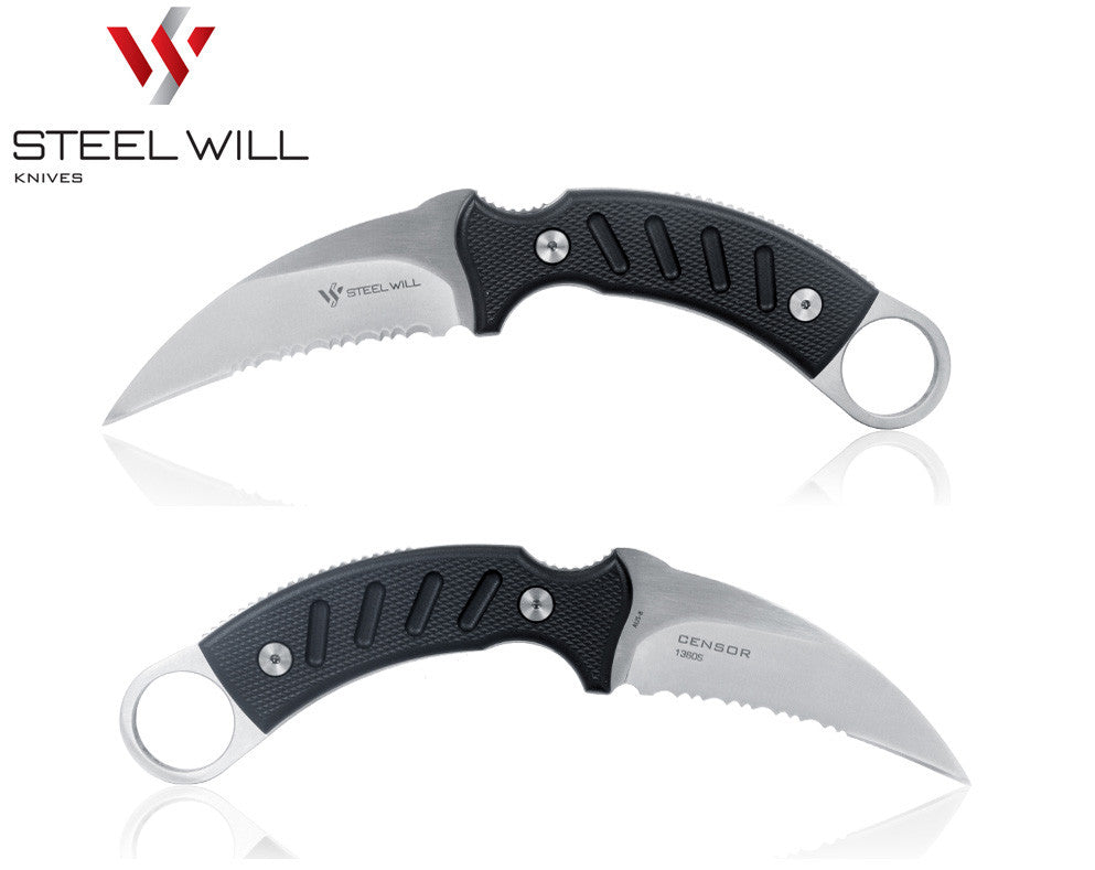 "Steel Will Censor 1360S 3.9"" AUS-8 Serrated Fixed Blade Karambit Knife with DOTS Sheath"